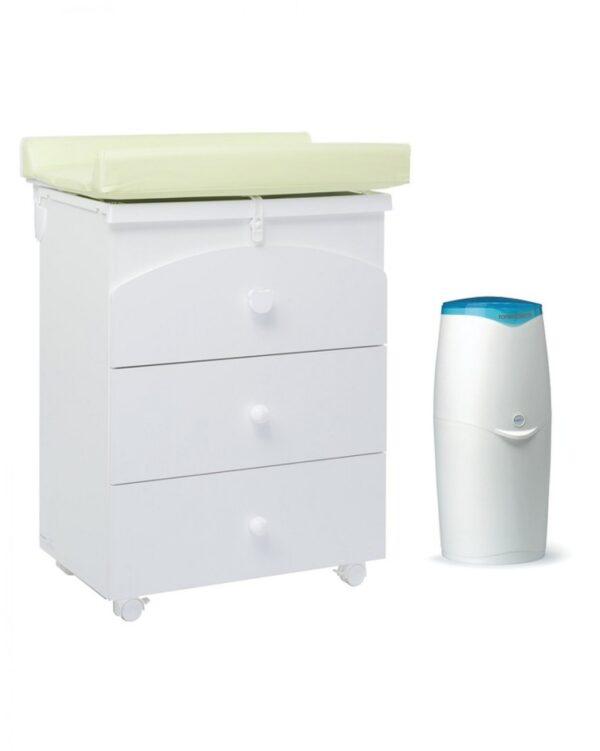 Cassettiera e bagnetto Nora color bianco con mangiapannolini Maialino - Giordani