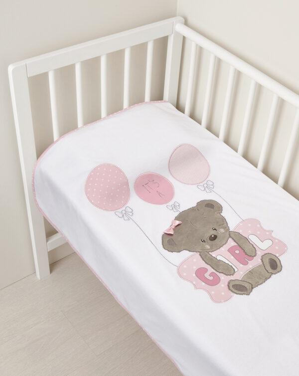 CULLA/CARROZZINA - Coperta in ciniglia con orsetta e cuscino rosa e scritta Girl - Prénatal