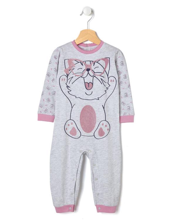 Pigiamone in jersey di cotone con stampa gatto - Prénatal