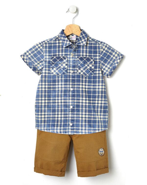 Completo camicia scozzese e bermuda - Prénatal