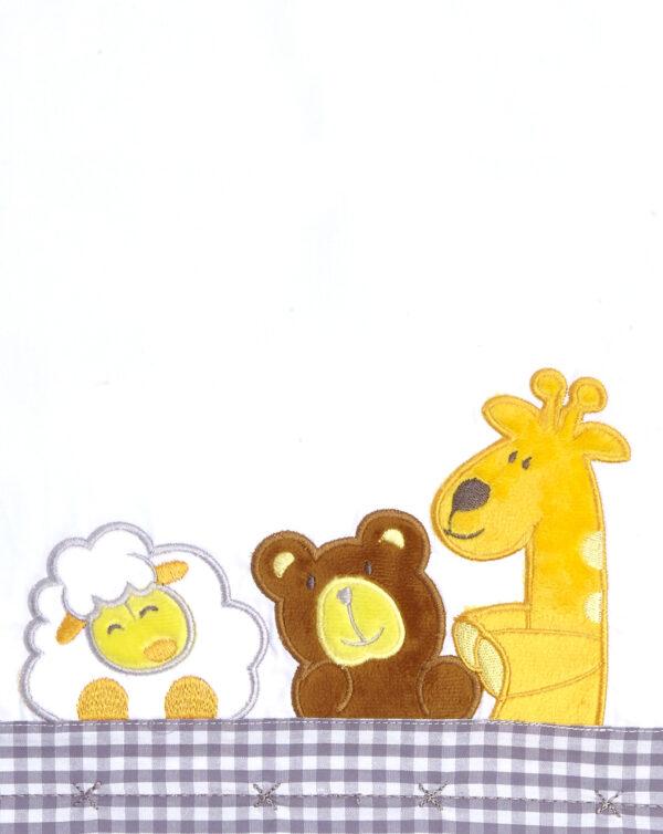 LETTO - Completo per letto con animaletti e vichy grigio chiaro - Prénatal