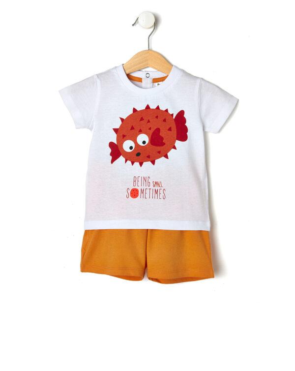 Completo con t-shirt stampa pesce palla - Prénatal