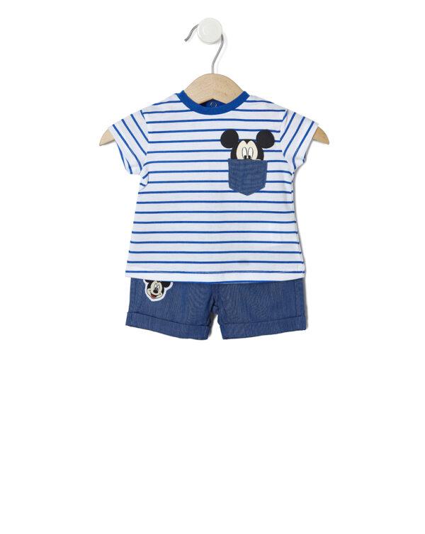 Completo a righe blu con taschino e Mickey Mouse - Prénatal