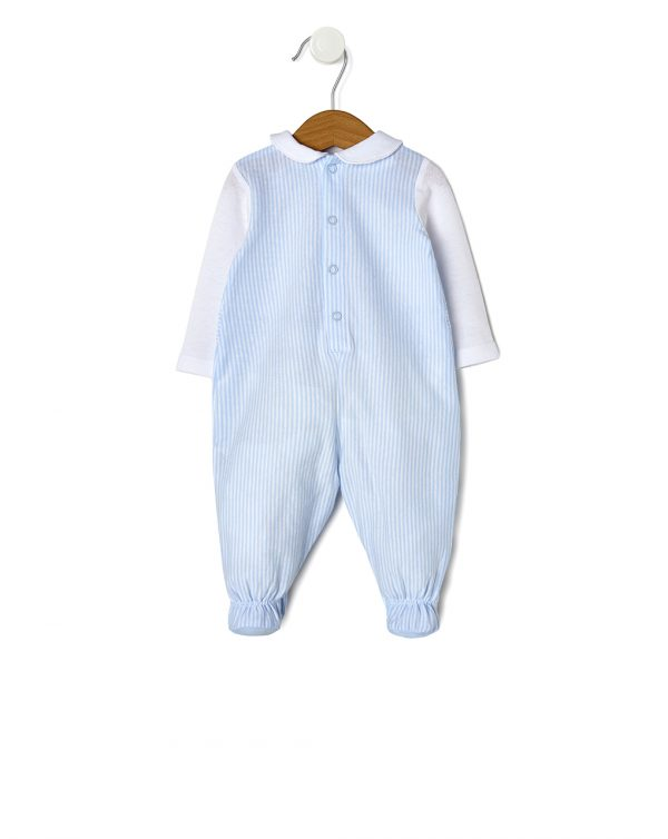 Tutina in jersey a righe azzurre con cane e piquet bianco - Prénatal