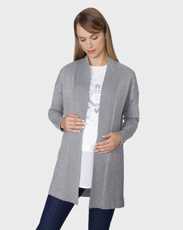 Cardigan in tricot lungo grigio mélange - Prénatal