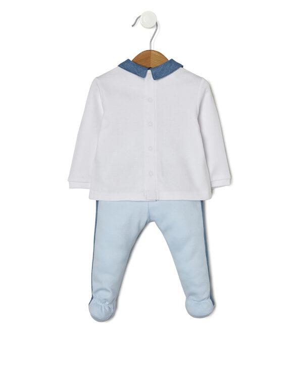 Completo bianco e azzurro con animaletti e chambary - Prénatal