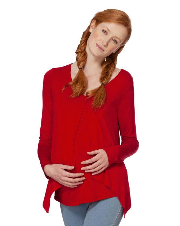 T-shirt allattamento rossa a maniche lunghe - Prénatal