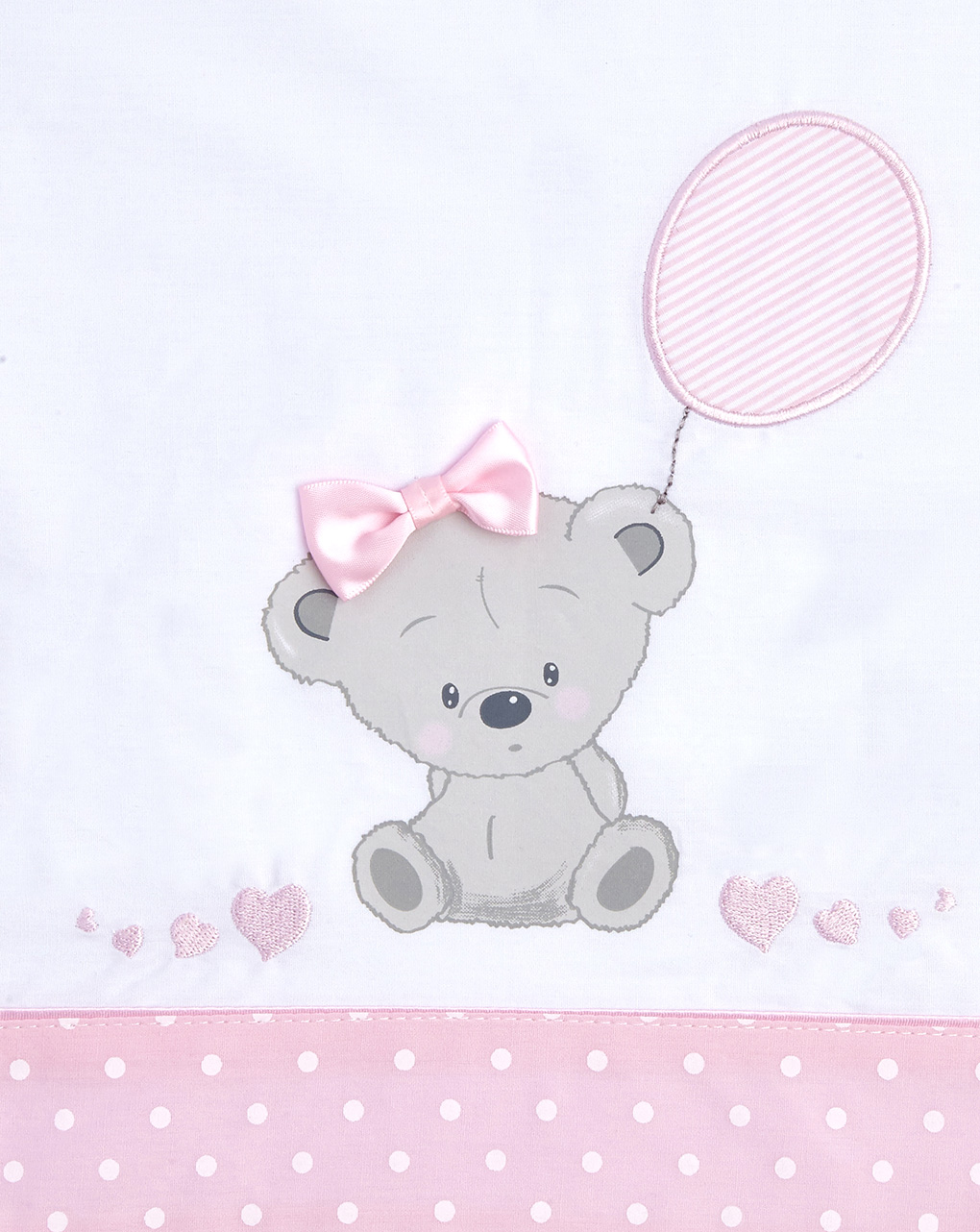Culla/carrozzina - completo culla e carrozzina 3 pezzi con orsetta e cuoricini rosa - Prénatal