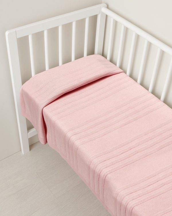 Coperta in tricot con lana rosa per culla e carrozzina - Prénatal