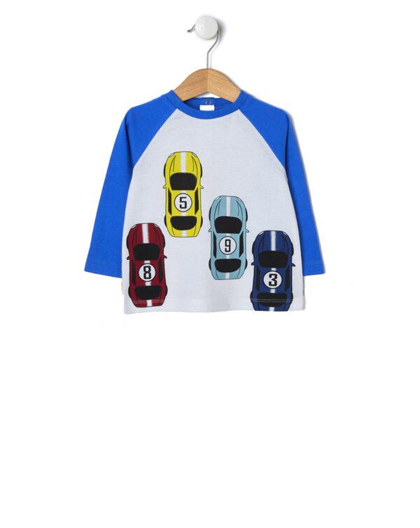 T-shirt panna con stampa macchine da corsa - Prénatal