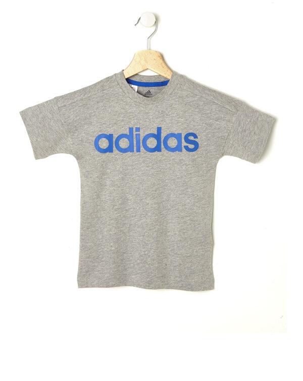 T-shirt Adidas grigio mélange con scritta blu - ADIDAS