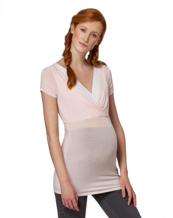T-shirt allattamento rosa chiaro con incrocio - Prénatal