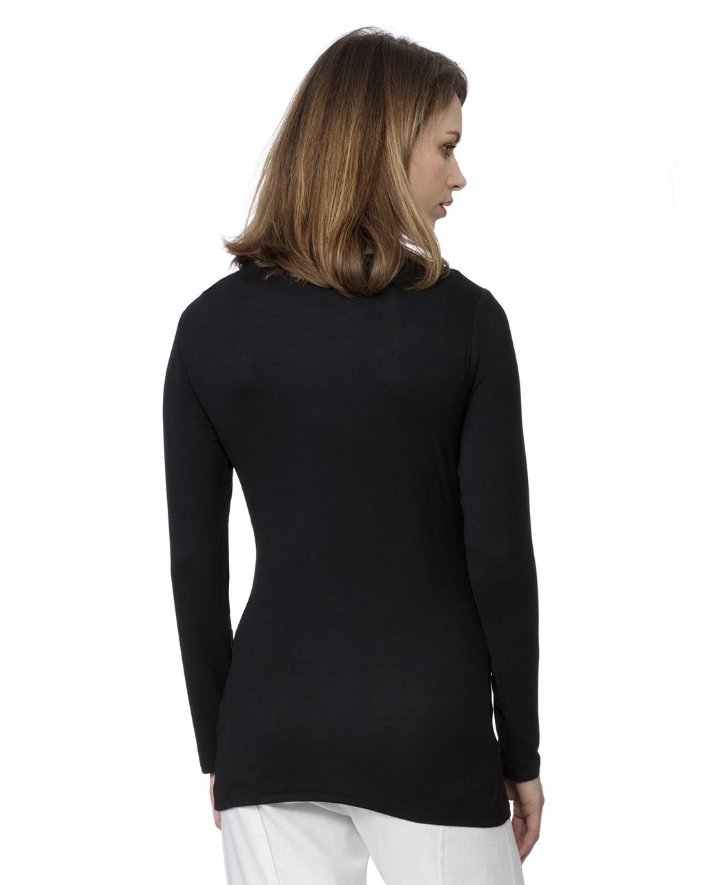T-shirt nera per allattamento maniche lunghe - Prénatal