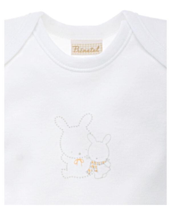 Maglietta a manica corta cotone felpato bianco con coniglietti - Prénatal