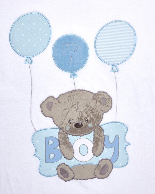 Coperta in ciniglia con orsetto e cuscino azzurro con scritta Boy - Prénatal