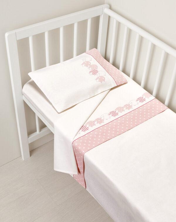 Completo per letto con pecorelle rosa e stelle - Prénatal