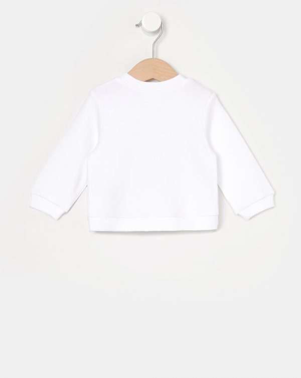 Cardigan interlock bianco tasca marsupio - Prénatal