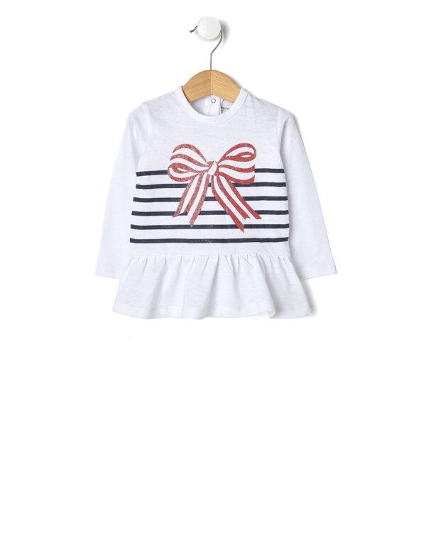 T-shirt bianca con righe e fiocco - Prénatal