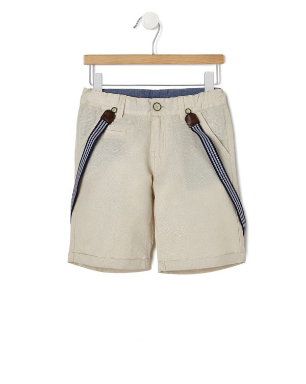 Bermuda beige con bretelle - Prénatal