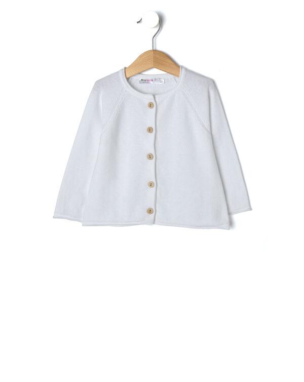 Cardigan in tricot bianco con bottoni effetto legno - Prénatal