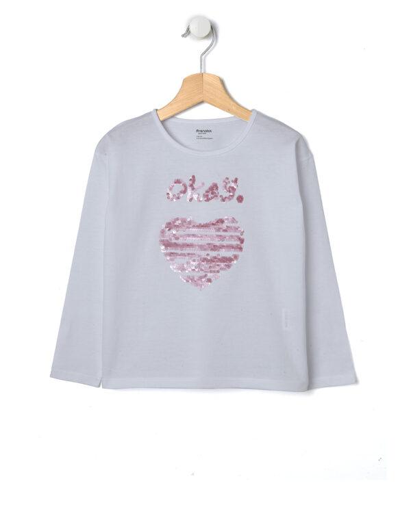 T-shirt bianca con cuore e scritta in paillettes rosa - Prénatal