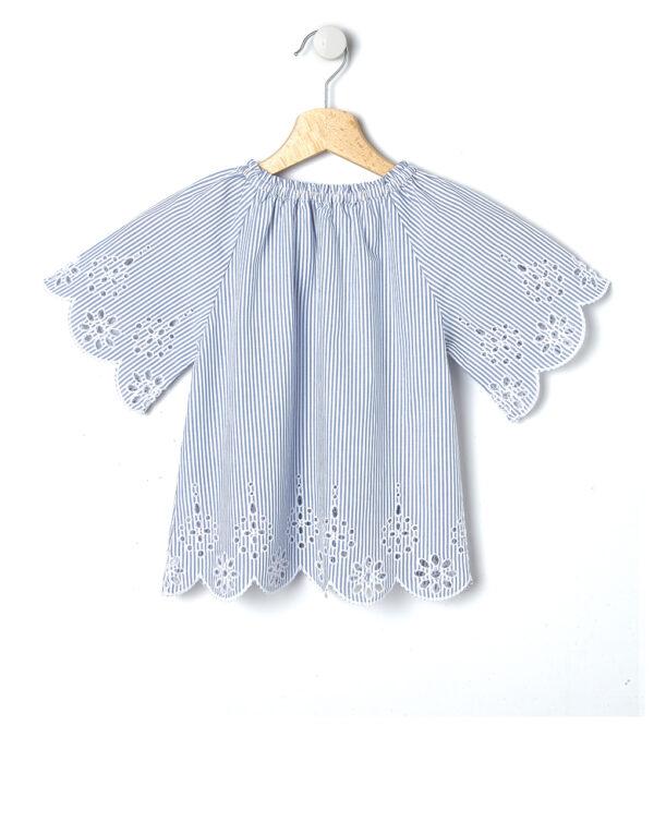 Camicia rigata blu e bianca con ricamo - Prénatal