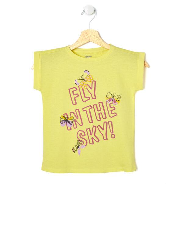 T-shirt gialla con scritta glitter e farfalle - Prénatal