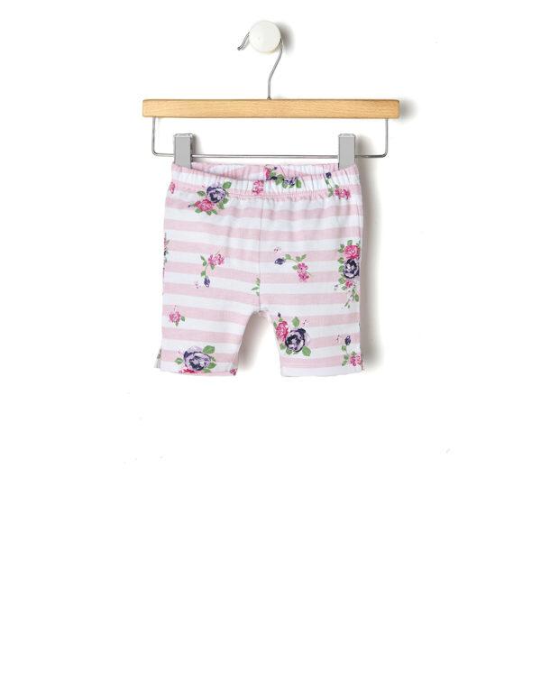 Completo rosa e fiori con abito e pantaloncini a righe - Prénatal