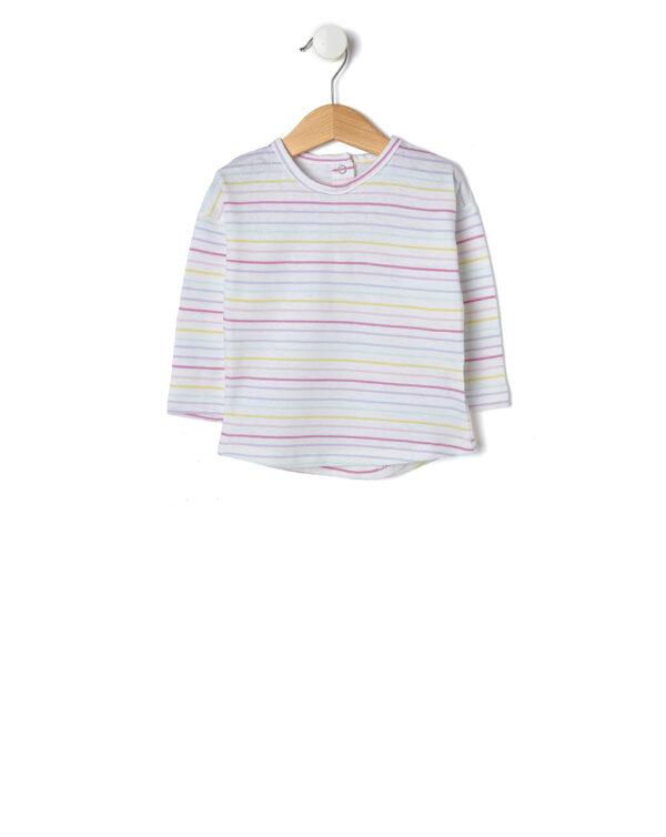 T-shirt bianca con righe multicolore - Prénatal