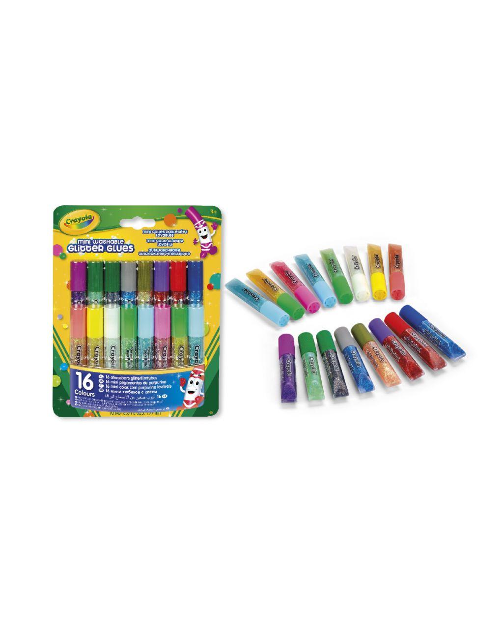 Crayola - 16 mini colle glitter lavabili - Crayola