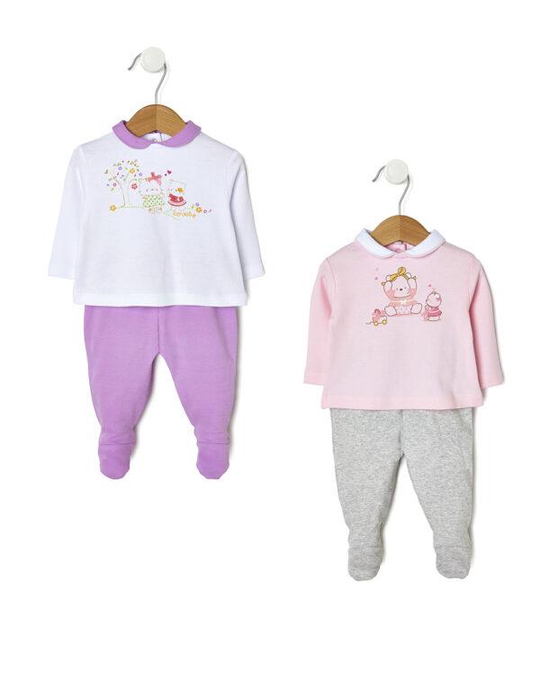 Pack 2 completi con maglia e ghette rosa, lilla e animaletti - Prénatal
