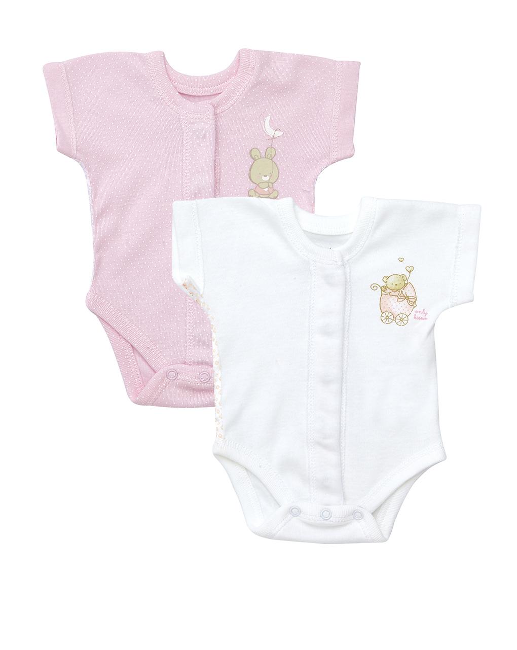 Pack 2 body extrasmall maniche corte rosa e bianco con orsetti - Prénatal