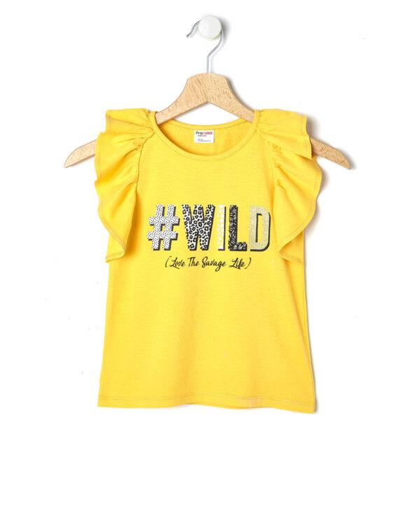 Canotta gialla con volant e stampa wild - Prénatal