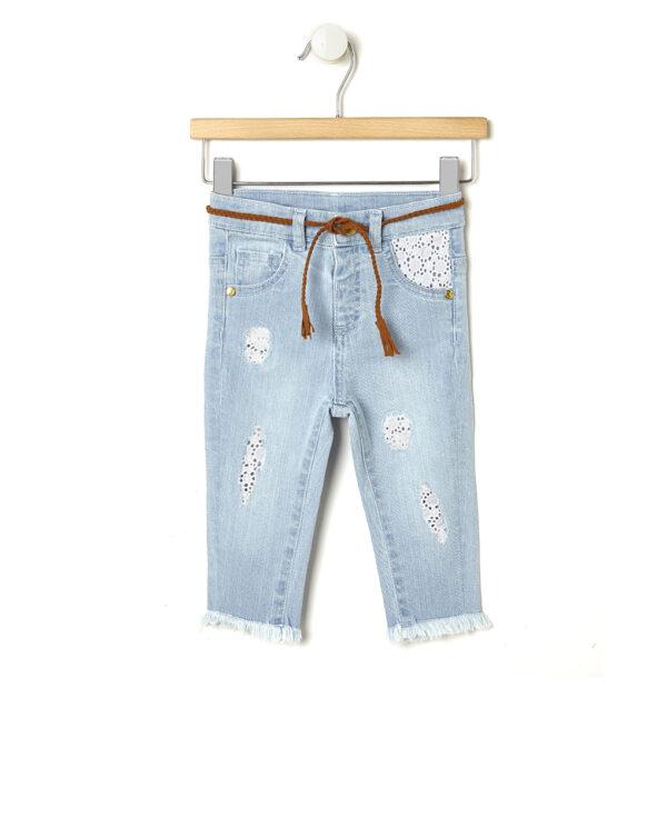 Pantaloni in denim chiaro ed inserti sangallo - Prénatal