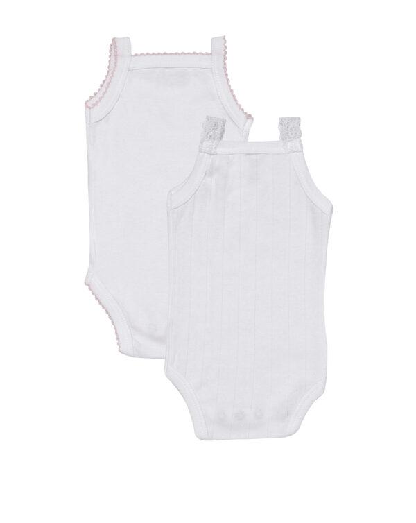 Pack da 2 body bianchi con spalla stretta smerlato rosa e pizzo - Prénatal