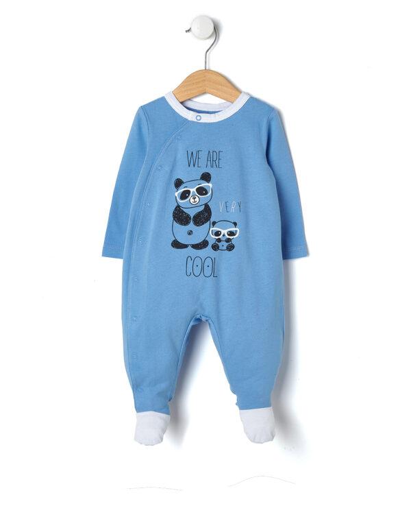 Tutina azzurra con due panda We are very cool - Prénatal