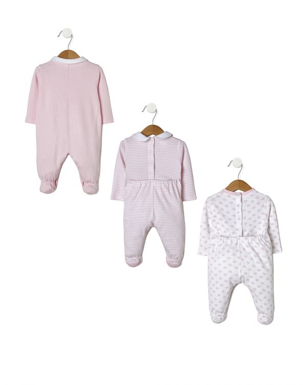 Pack 3 tutine rosa con orsetto e righe - Prénatal