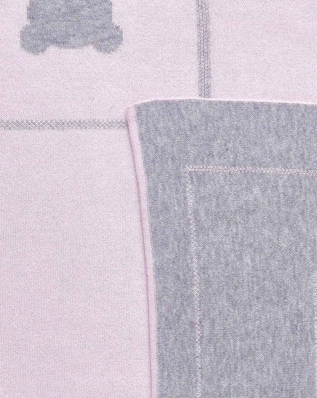 Coperta in tricot rosa e grigio chiaro con orsi - Prénatal