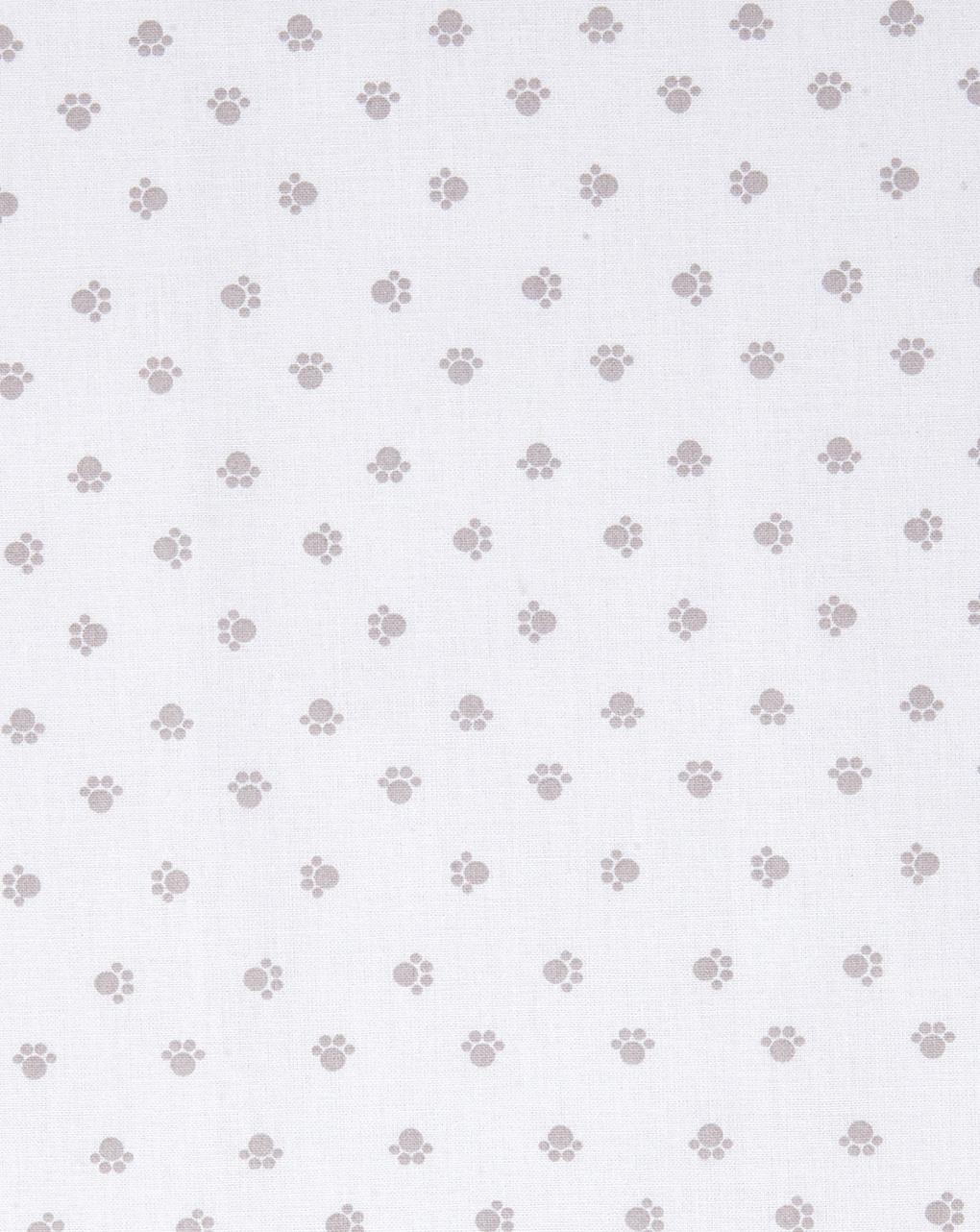 Culla/carrozzina - parure per culla 2 pezzi con stampa impronte zampine grigie - Prénatal