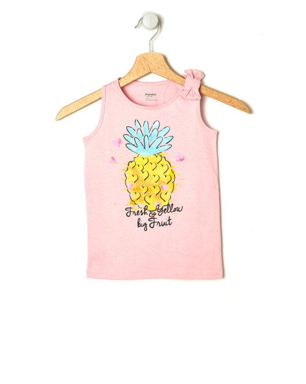 Canotta rosa con stampa ananas glitter - Prénatal