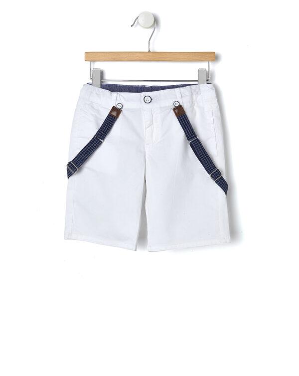 Eleganti bermuda bianco con bretelle - Prénatal