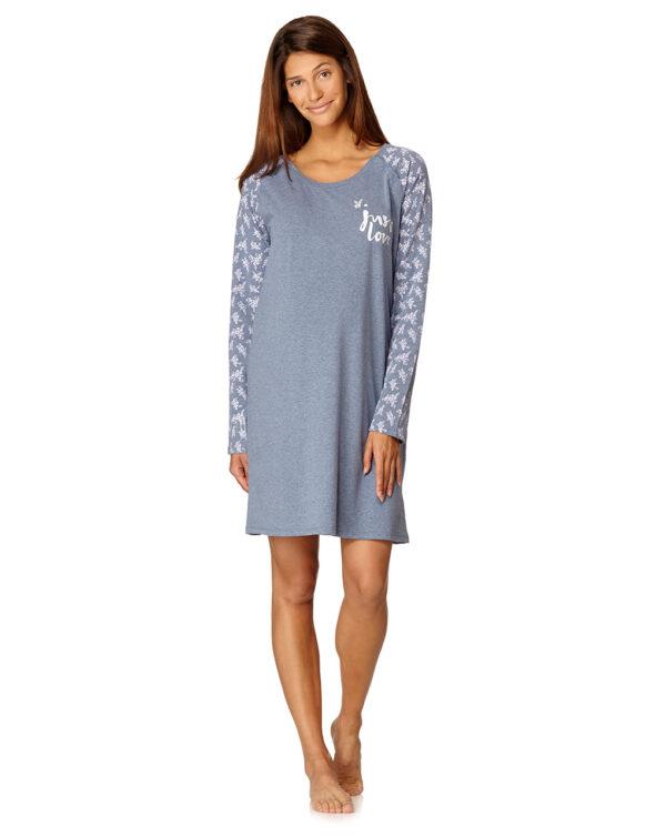 Camicia da notte blu mélange con scritta e fiori - Prénatal