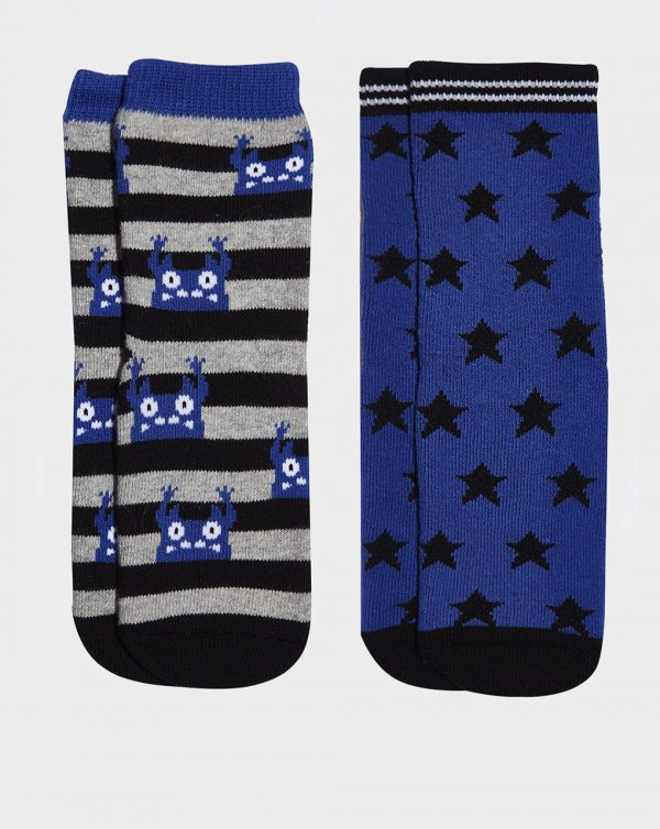 Pack 2 paia di calze antiscivolo bimbo a righe e stelle - Prénatal