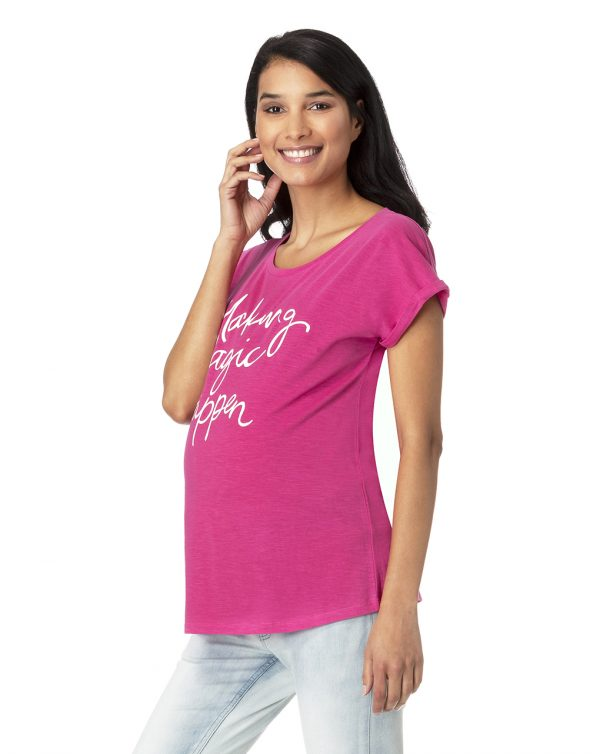 T-shirt fucsia con scritta Making Magic Happen - Prénatal