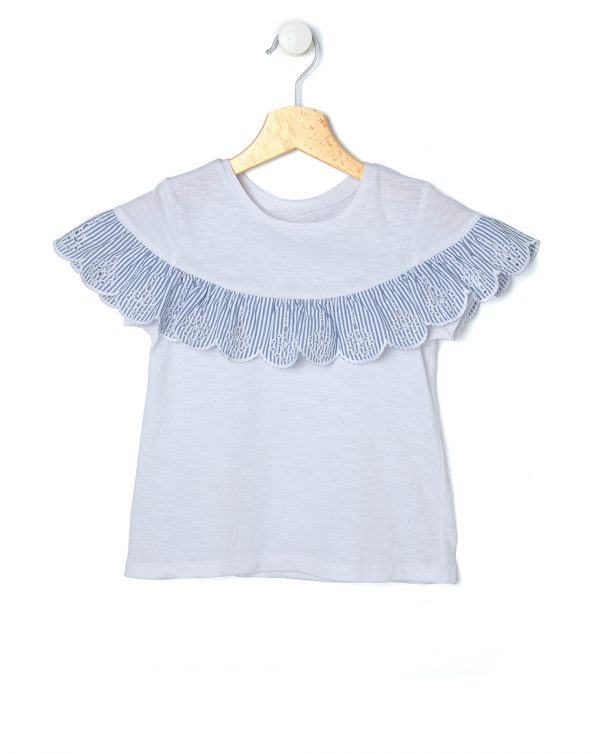 T-shirt mezza manica con balza millerighe - Prénatal