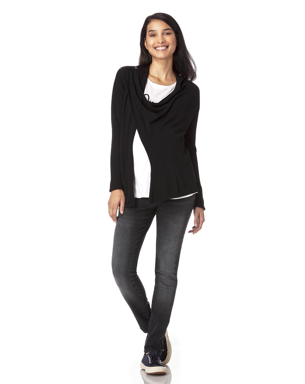 Cardigan in tricot nero con zip - Prénatal