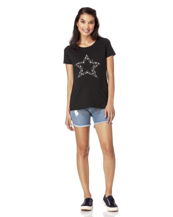 T-shirt nera con stella di borchie - Prénatal