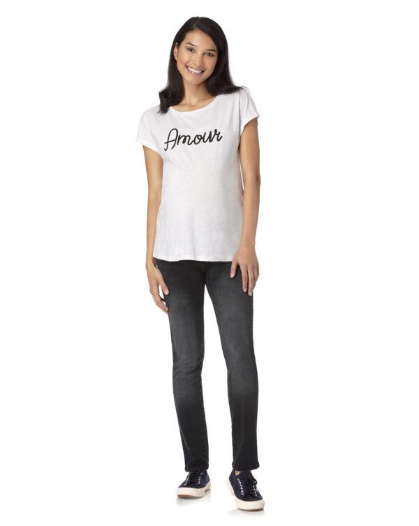 T-shirt bianca con scritta Amour - Prénatal