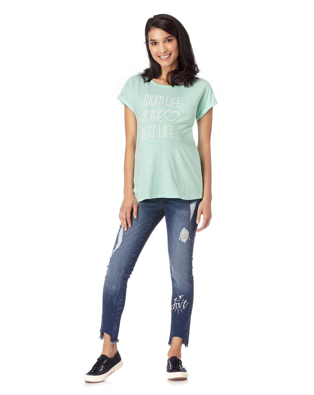 1dc91b22d58b T-shirt verde acqua con scritta e cuore - MAMMA