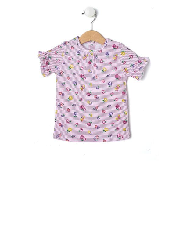 T-shirt con stampa millerighe e fiori - Prénatal